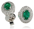 Image for Oval Shaped Emerald & Diamond Halo Earrings