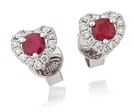 Image for Round Ruby & Diamond Cluster Earrings