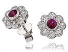 Round Ruby & Diamond Cluster Earrings