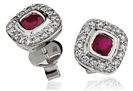 Image for Cushion Ruby & Diamond Cluster Earrings