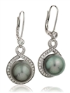 Image for Round Diamond & Black Pearl Drop Earrings
