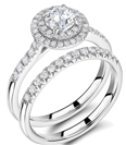 Round Diamond Shoulder Set Ring With Matching Band
