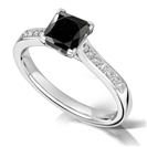 Image for Princess Black Diamond Shoulder Set Ring