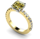 Image for Fancy Yellow Asscher Cut Diamond Shoulder Set Ring