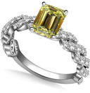 Image for Fancy Yellow Emerald Diamond Vintage Shoulder Set Ring