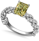 Image for Fancy Yellow Radiant Cut Diamond Shoulder Set Ring