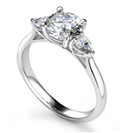 Elegant Round & Pear Diamond Trilogy Ring