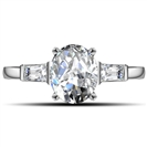 Modern Oval & Baguette Diamond Trilogy Ring