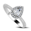 Pear & Round Diamond Single Halo Ring