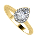 Image for Pear & Round Diamond Single Halo Ring