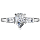 Image for Modern Pear & Baguette Diamond Trilogy Ring