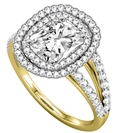 Image for Radiant Diamond Double Halo Shoulder Set Ring