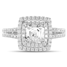 Asscher Diamond Double Halo Shoulder Set Ring