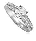 Modern Split Shoulder Cushion Diamond Vintage Ring