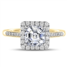 Image for Asscher Diamond Single Halo Shoulder Set Ring