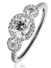 1.30ct VS/EF Round Diamond Cluster Ring