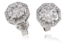 Octagon Round Diamond Halo Earrings