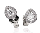 Image for 0.60ct Teardrop Halo Round Diamond Earrings