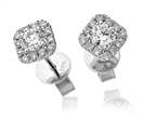 Unique Round Diamond Single Halo Earrings