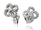 Swirled Round Diamond Cluster Earrings