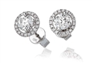 1.20ct Unique Round Diamond Halo Earrings