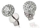 Image for 0.60ct Unique Round Diamond Single Halo Earrings