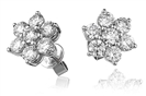 Image for 2.00ct Flower Shaped Round Diamond Cluster Earrings