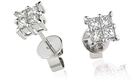 Classic Princess Diamond Cluster Earrings