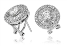 Image for Classic Round & Baguette Diamond Cluster Earrings