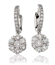 Modern Round Diamond Drop Earrings