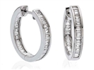 Elegant Baguette Diamond Hoop Earrings