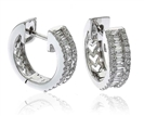 Image for Elegant Round & Baguette Diamond Hoop Earrings