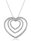 Image for Classic Round Diamond Triple Heart Pendant