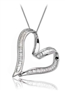 Image for Classic Baguette Diamond Heart Pendant