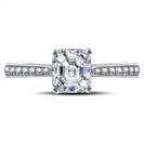 Asscher Diamond Shoulder Set Engagement Ring