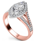 Image for Marquise Diamond Single Halo Split Shoulder Set Ring