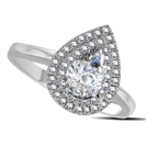 Double Halo Pear Diamond Engagement Ring