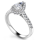 Pear Diamond Single Halo Shoulder Set Ring