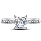 Asscher Diamond Shoulder Set Ring