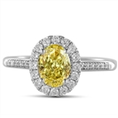 Fancy Yellow Oval Diamond Shoulder Set Ring