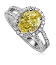 Image for Fancy Yellow Oval Diamond Shoulder Set Ring