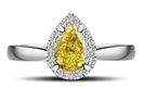 Image for Fancy Yellow Pear Diamond Halo Ring