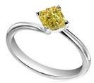 Image for Elegant Fancy Yellow Cushion Diamond Engagement Ring
