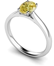 Fancy Yellow Oval Diamond Halo Shoulder Set Ring