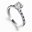 Blue Sapphire and Round Diamond Engagement Ring