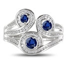 Image for Multi Row Loop Diamond & Blue Sapphire Dress Ring