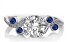 Image for Blue Sapphire & Round Diamond Designer Vintage Ring