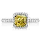 Image for Fancy Yellow Cushion Cut Diamond Halo Shoulder Set Ring