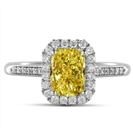 Fancy Yellow Radiant Diamond Halo Shoulder Set Ring