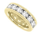 Image for Milgrain Channel Set 5.5mm Round Eternity Diamond Ring